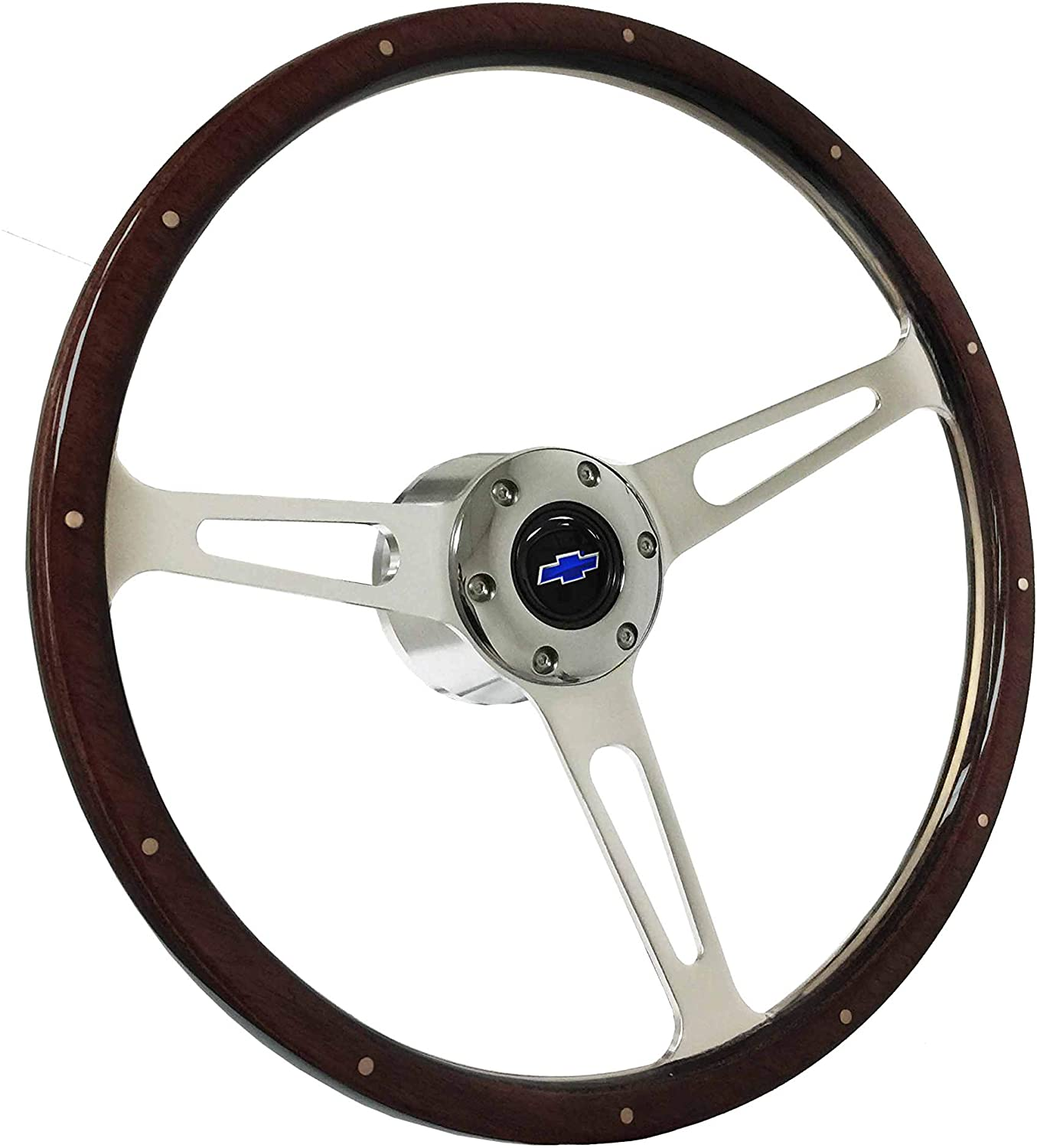 1969-1989 Chevy S6 Classic Riveted Espresso Stained Wood Steering Wheel Kit | Blue Bow Tie