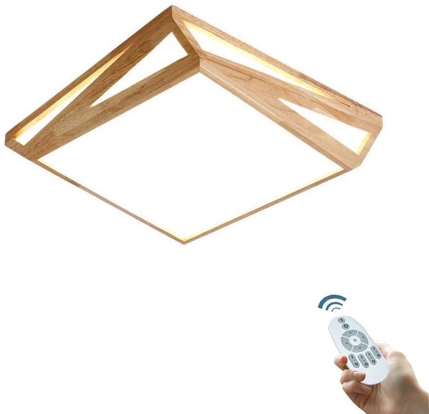 LED Ceiling Light Indoor Lighting Square Natural Solid Wood Ceiling Lamp with Remote Control Dimmable Living Room Bedroom Restaurant Interior Ceiling Light,45 45cm30W