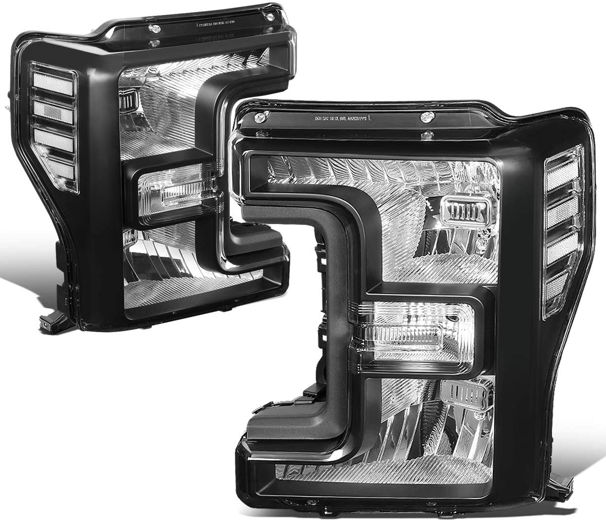 DNA Motoring HL-OH-F25018-BK-CL1 Pair Factory Style Front Driving Headlight Lamp Set Replacement,Black Housing/ Clear corner