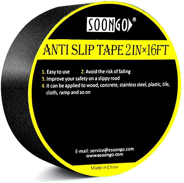 Anti Slip Tape 2 Inch x 16 Foot Grip Tape Non Skid Increase Grit Friction Abrasive Strong Adhesive for Stairs Tread Step Floor Indoor Outdoor Black by SOON GO