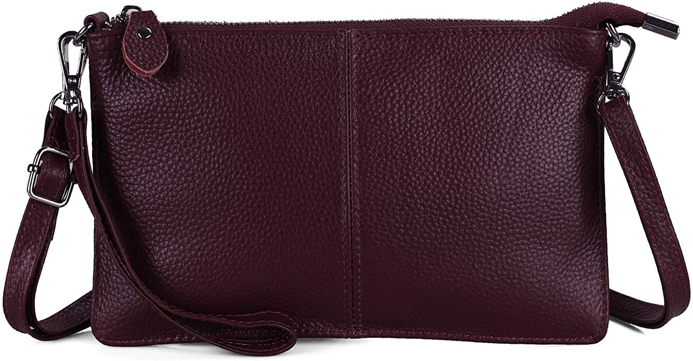 Befen Genuine Full Grain Leather Wristlet Clutch Wallet Purses Small Crossbody Bags for Women