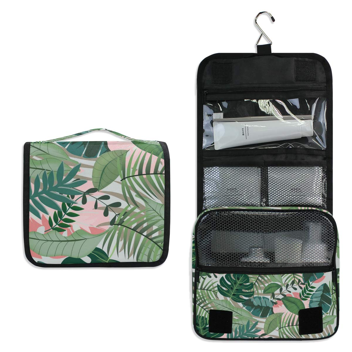 Toiletry Bag Travel Bag Hanging Hook - Tropical Jungle Waterproof Cosmetic Bag Portable Makeup Pouch for Women Girls Men