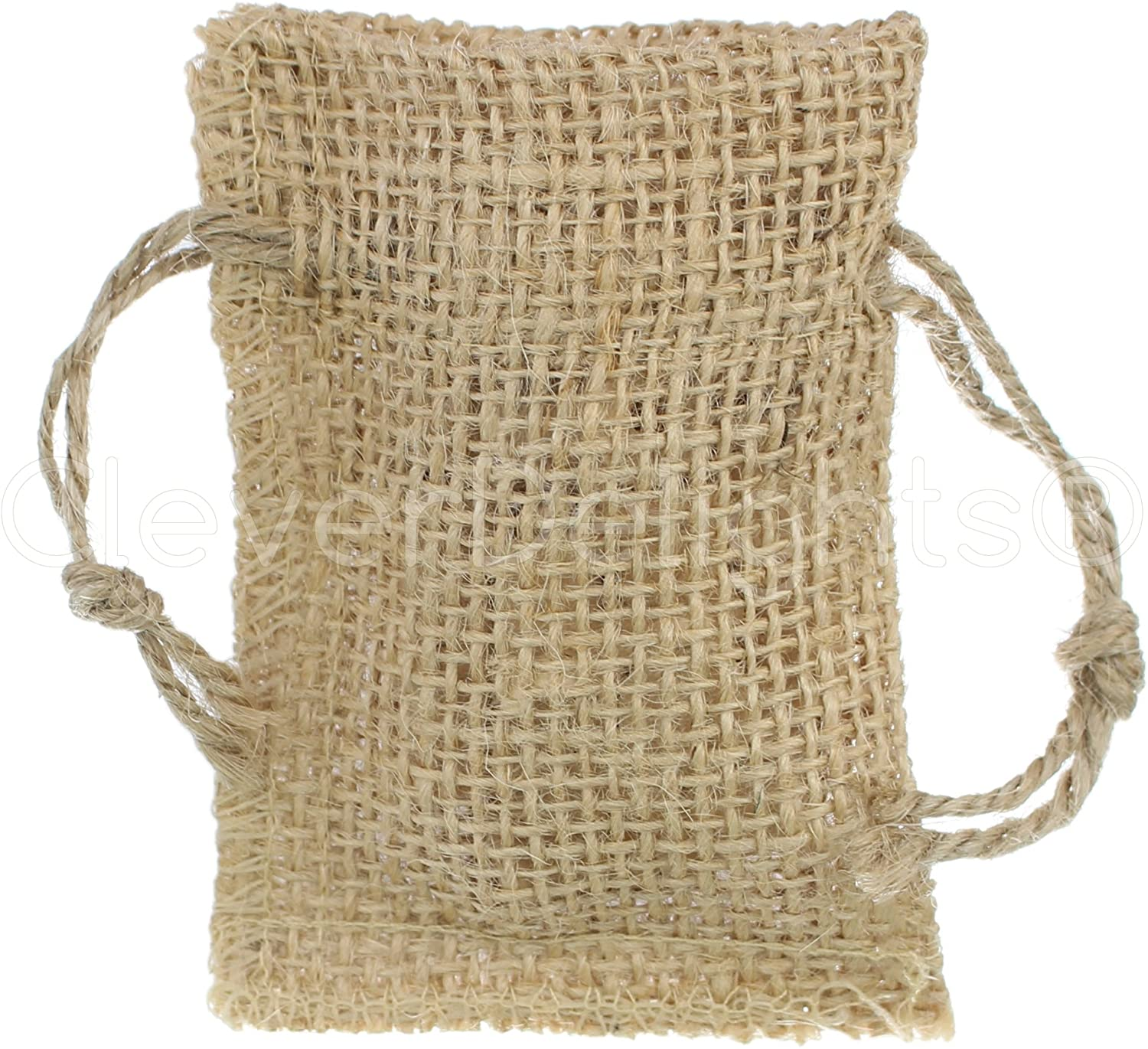 25 Pack - CleverDelights 2 x 3 Burlap Bags with Natural Jute Drawstring