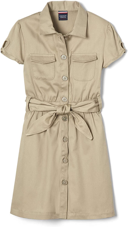 French Toast Girls' Twill Safari Shirtdress