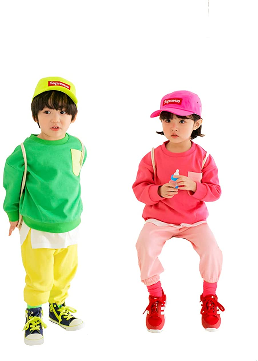 EUCACA 2Pcs Kids Boys Girls Clothing Sets Long-Sleeved + Pants 2-7Years Old Pocket Set 2Color