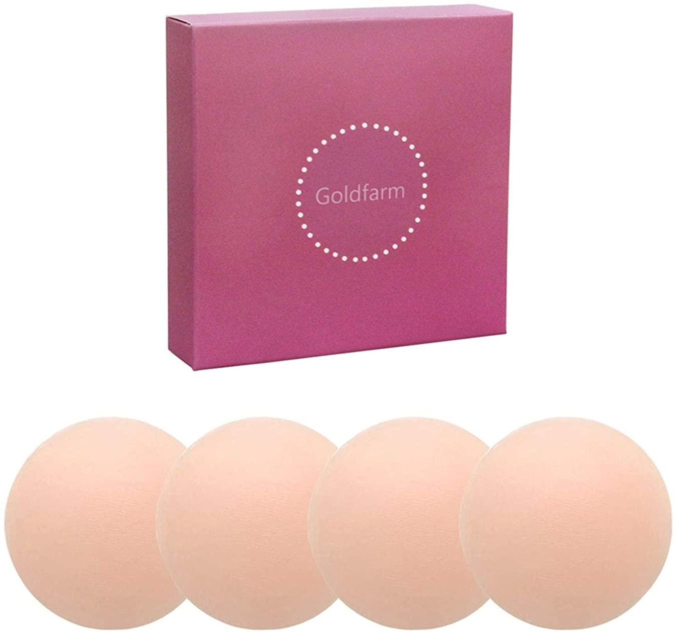 Nippleless Covers, Pasties, Silicone Reusable Breast Pasties Adhesive Bra 2 Pairs Round (2)