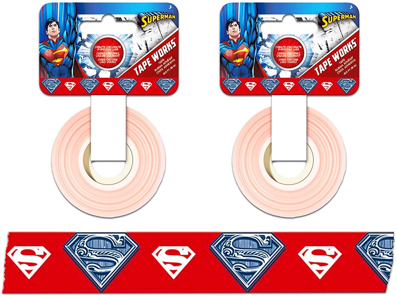 DC Comics Superman Washi Tape ~ 2 Pack Superhero Masking Tape for Gift Wrap, Arts & Crafts, Scrapbook, and More, 0.6 Wide (Superhero Crafts)
