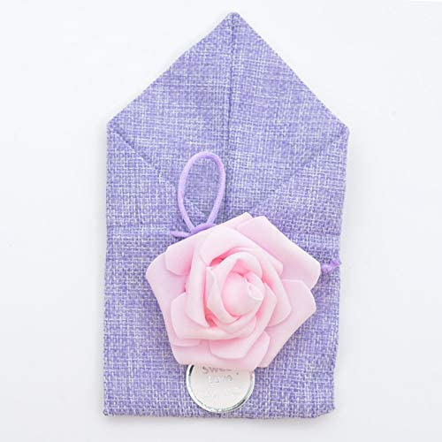 Wedding Candy Bag,Small Cloth Cotton Bags for Candy Wedding with Linen Ornaments and Flower Drawstring Mouth,Weddings, Parties, Gift Decorations.(20pcs)