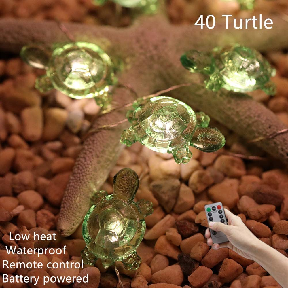 HDNICEZM Turtle Decorative String Lights 14.1 Ft 40 LED Weatherproof Battery Operated 8 Modes Turtle Fairy Lights for Holiday Weddings Bedrooms Party Decorations with Remote and Timer (Warm White)