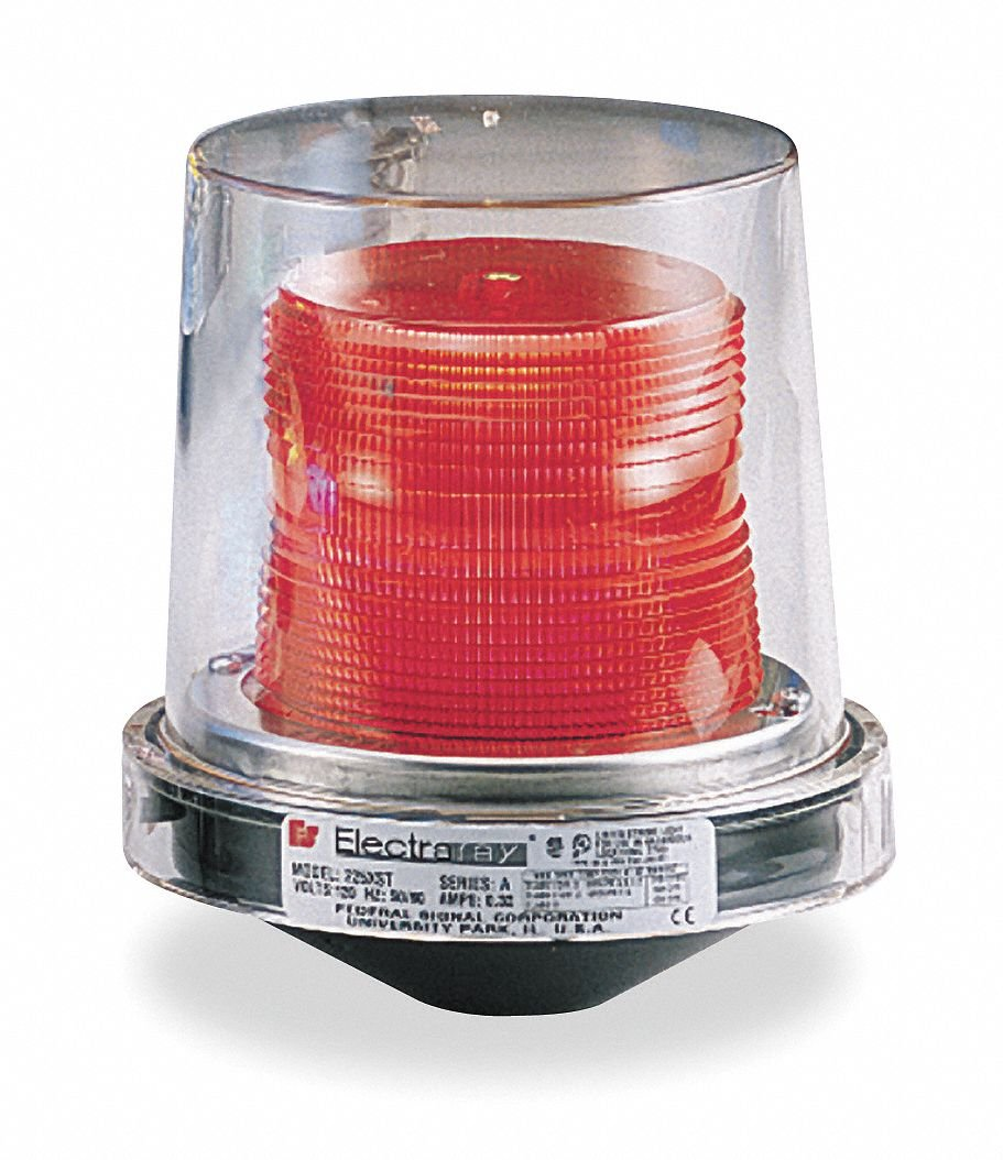Hazardous Warning Light, Strobe, Red, 120V