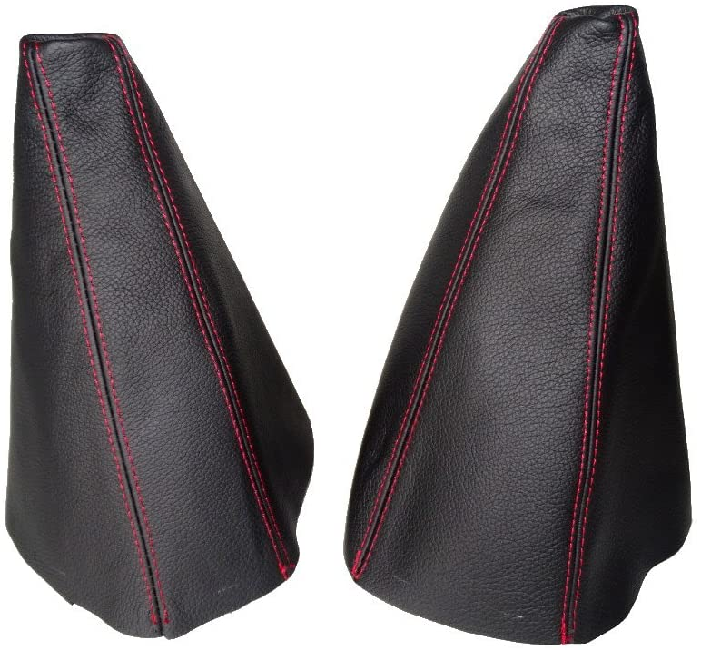 For Nissan Terrano II 1999-06 Shift & Hi-Low Boot Black Genuine Leather Red Stitching