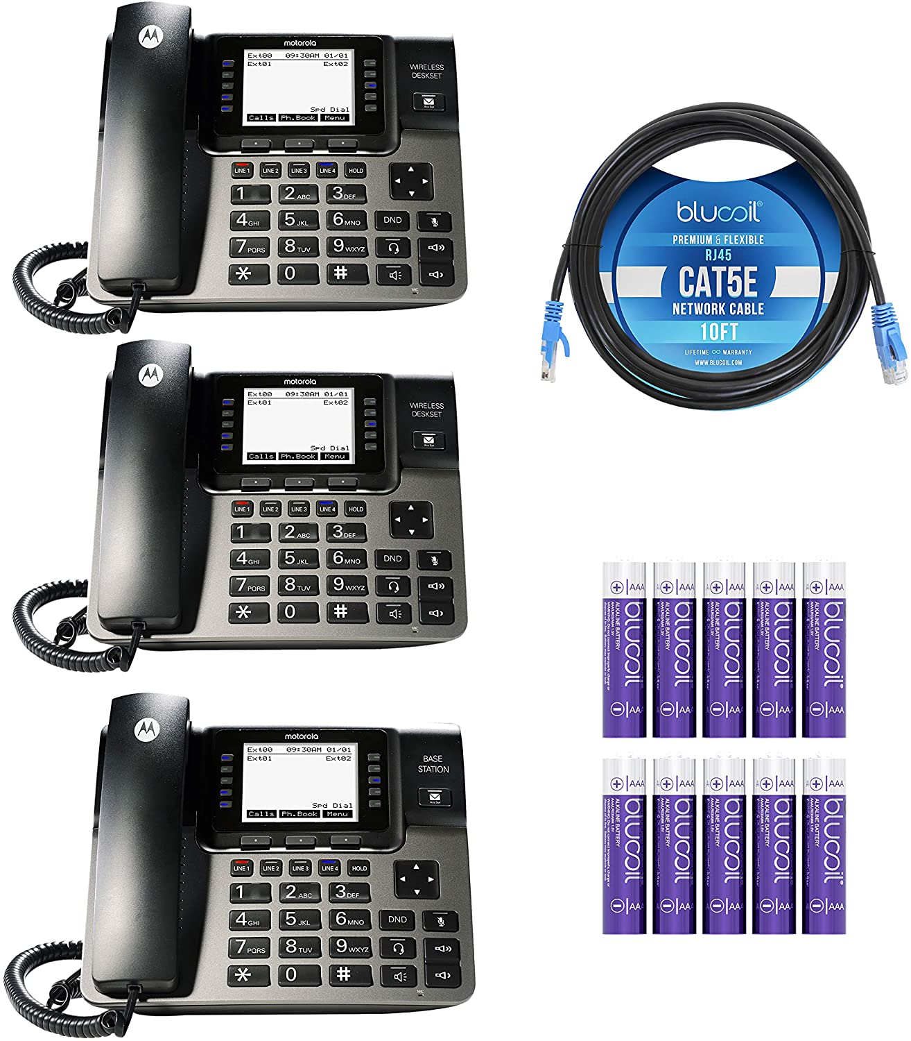 Motorola ML1002D (ML1000 x1, ML1100 x2) DECT 6.0 Expandable 4-Line Business Phone System with Digital Receptionist and Answering System Bundle with Blucoil 10-FT Cat5e Cable, and 10 AAA Batteries
