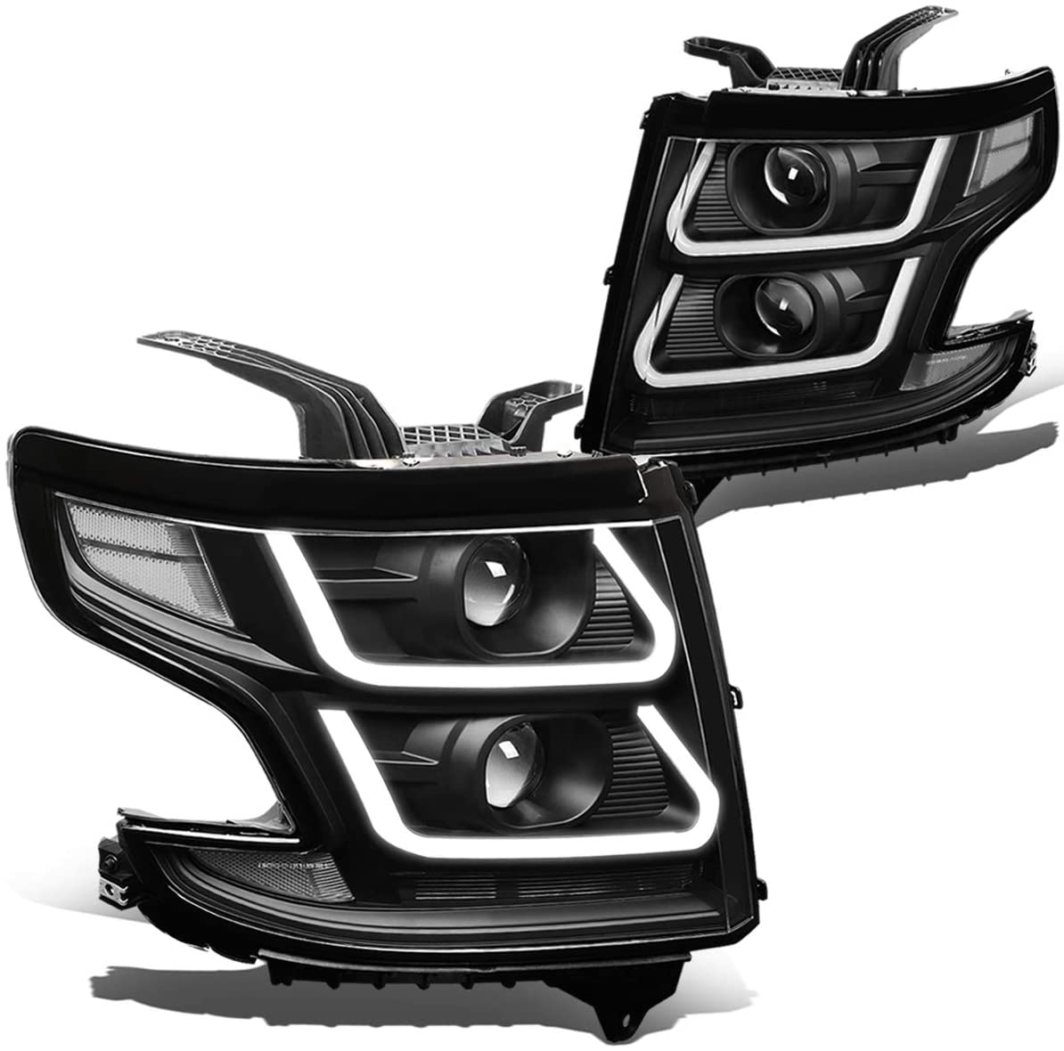 DNA MOTORING HL-3D-SUB15-BK-CL1 Dual Projector+LED DRL Headlight [for 15-18 Chevy Suburban/Tahoe]