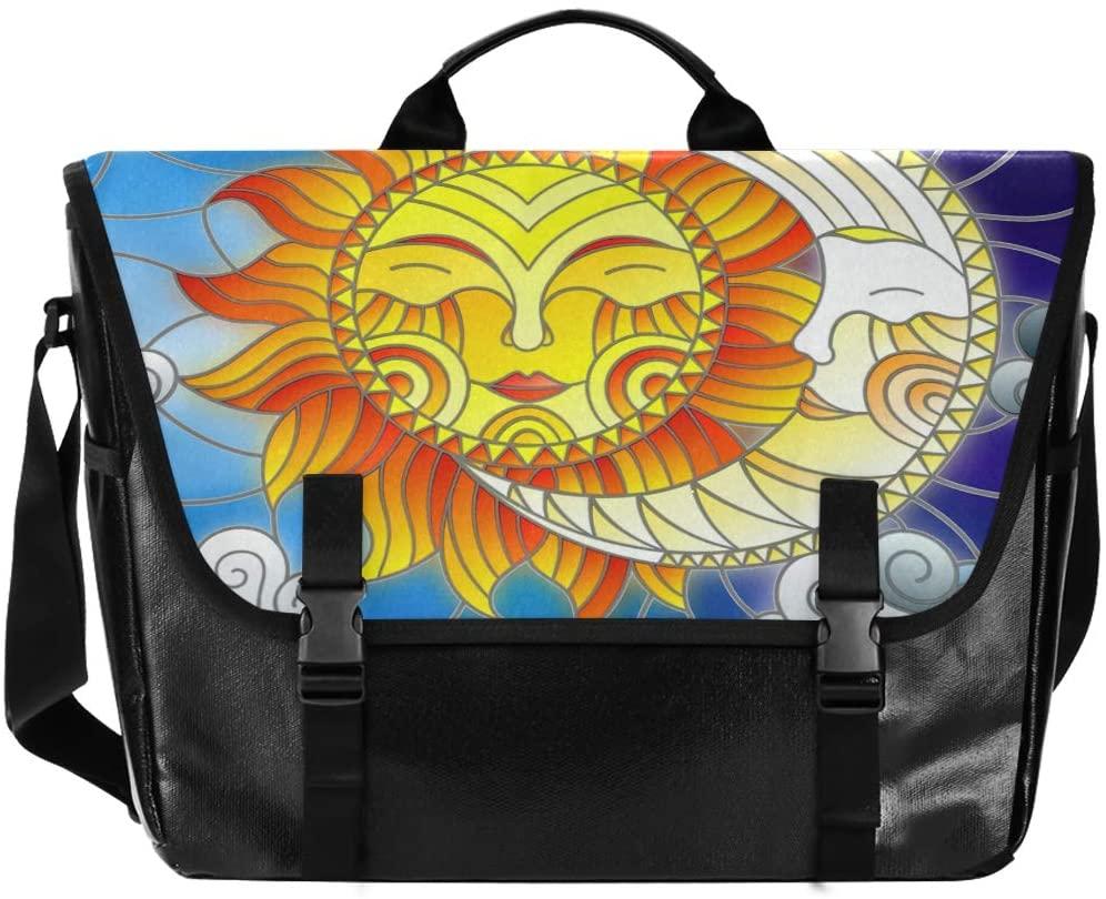 National Style Sun Moon Men and Women Canvas Satchel, Ladies Retro Single Shoulder Bag School Satchel, Suitable for Ipad, Kindle, Samsung