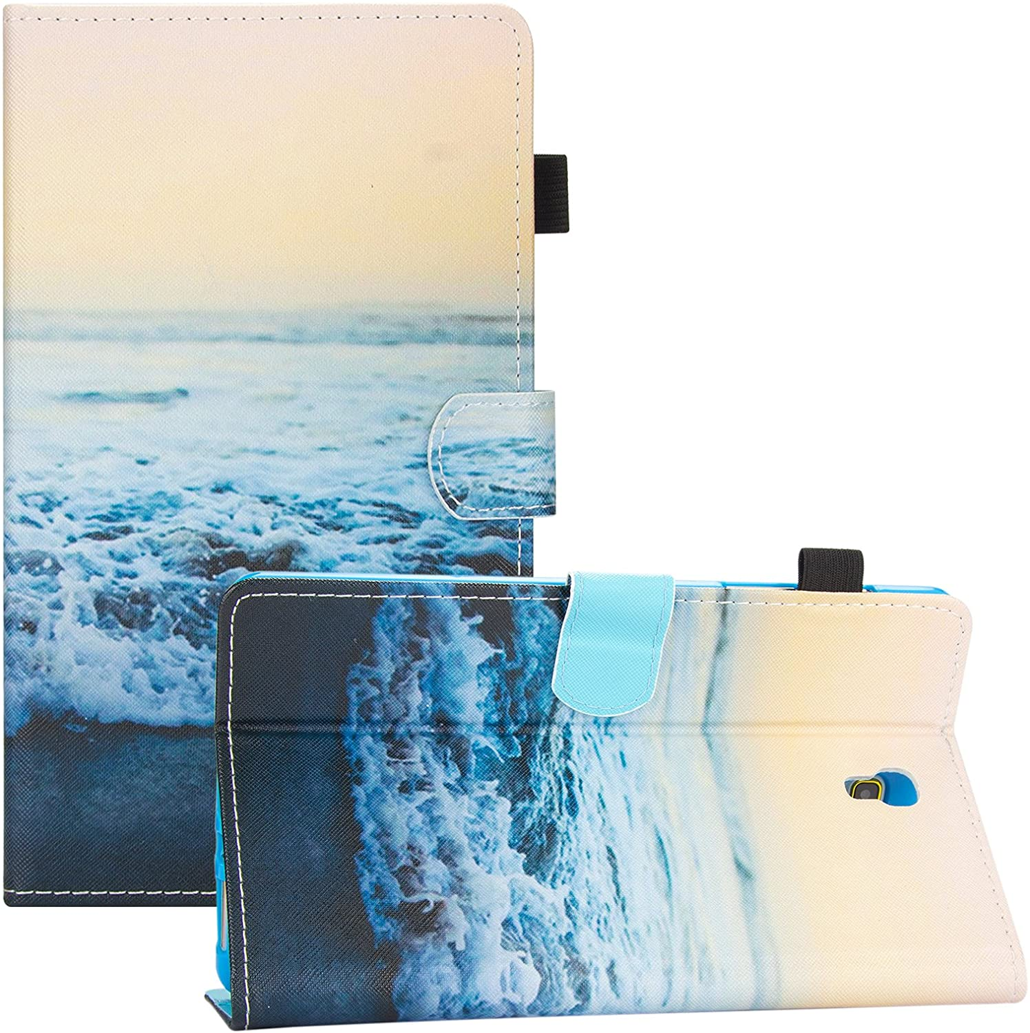 Galaxy Tab S 8.4 Case, Dteck Slim Fit PU Leather Folio Stand Wallet Case with [Stylus Slot] Protective Cover for Samsung Galaxy Tab S 8.4 inch Tablet 2014 (SM-T700/SM-T705), Peace Sea