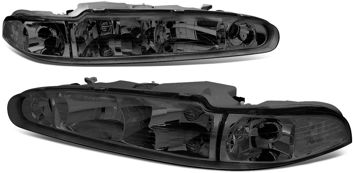 Pair of Smoked Housing Clear Corner Front Driving Headlight Assembly Lamps Replacement for Oldsmobile Intrigue 98-02