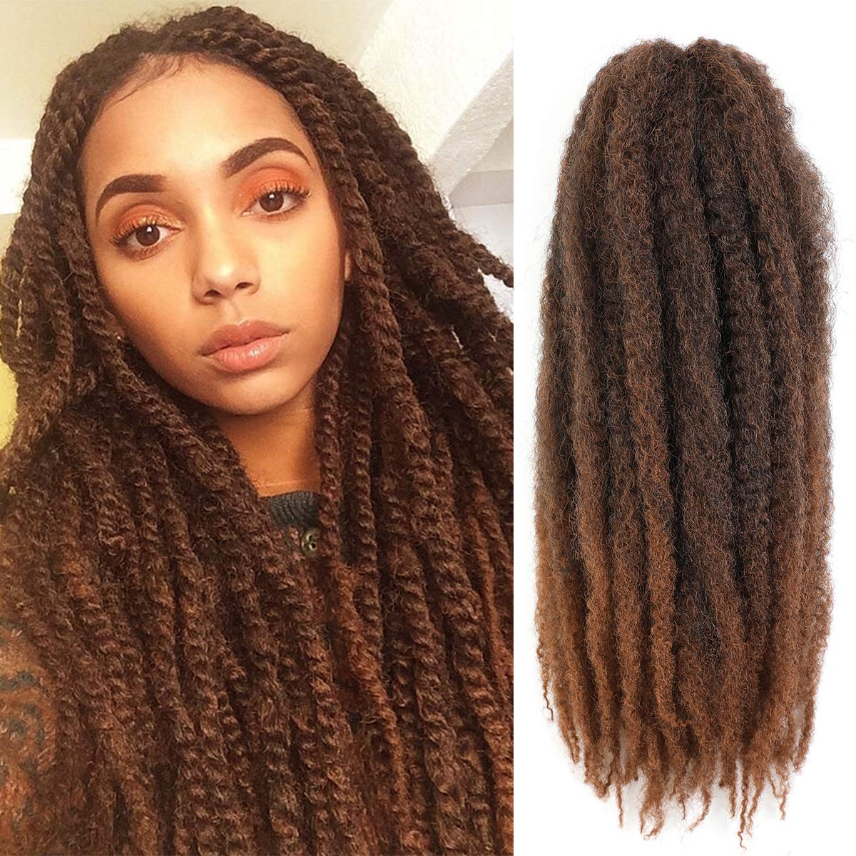 AMELI 6 Packs Marley Braiding Hair for Twists Synthetic Fiber Hair Afro Kinky Hair Marley Braid Hair Extensions (24inch, T30)