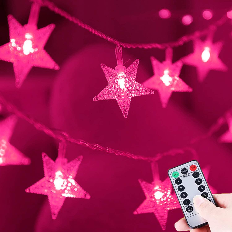HUGSVIK 50 LED Pink Star String Lights Battery Operated, 8 Modes Pink String Lights for Bedroom with Remote Timer, Indoor Pink Christmas Lights for Bedroom Christmas Valentine's Day Decor