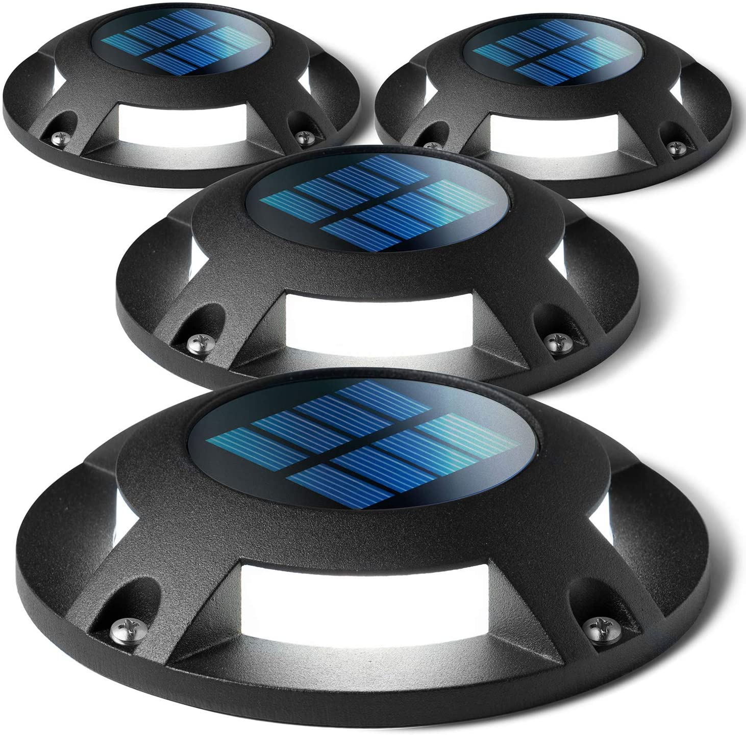 Home Zone Security Solar Deck Lights - Outdoor Solar Dock and Driveway Path Lights, Weatherproof with No Wiring Required, Black (4-Pack)