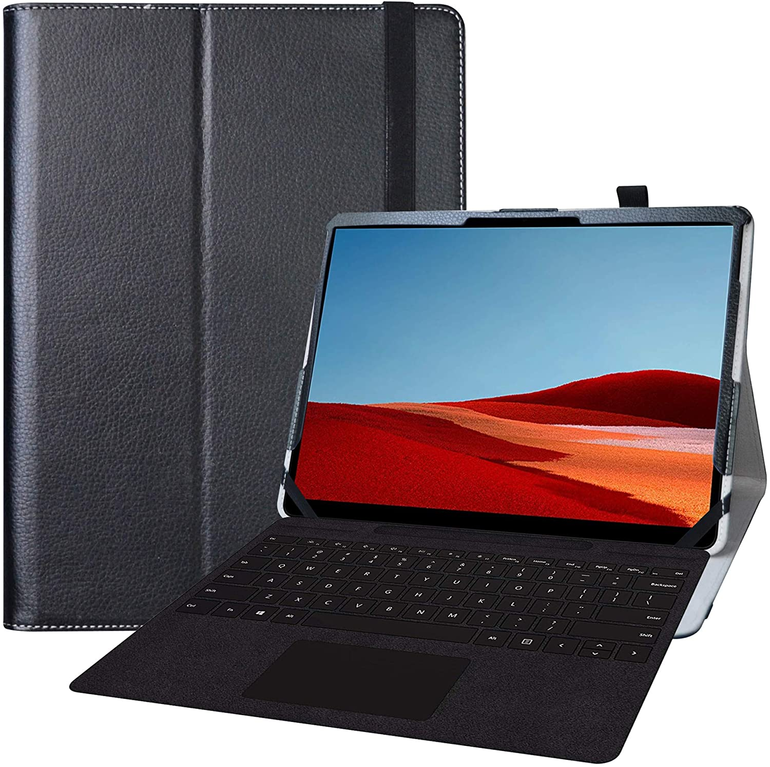 Bige for Microsoft Surface Pro X Case,PU Leather Folio 2-Folding Stand Cover Case for 13