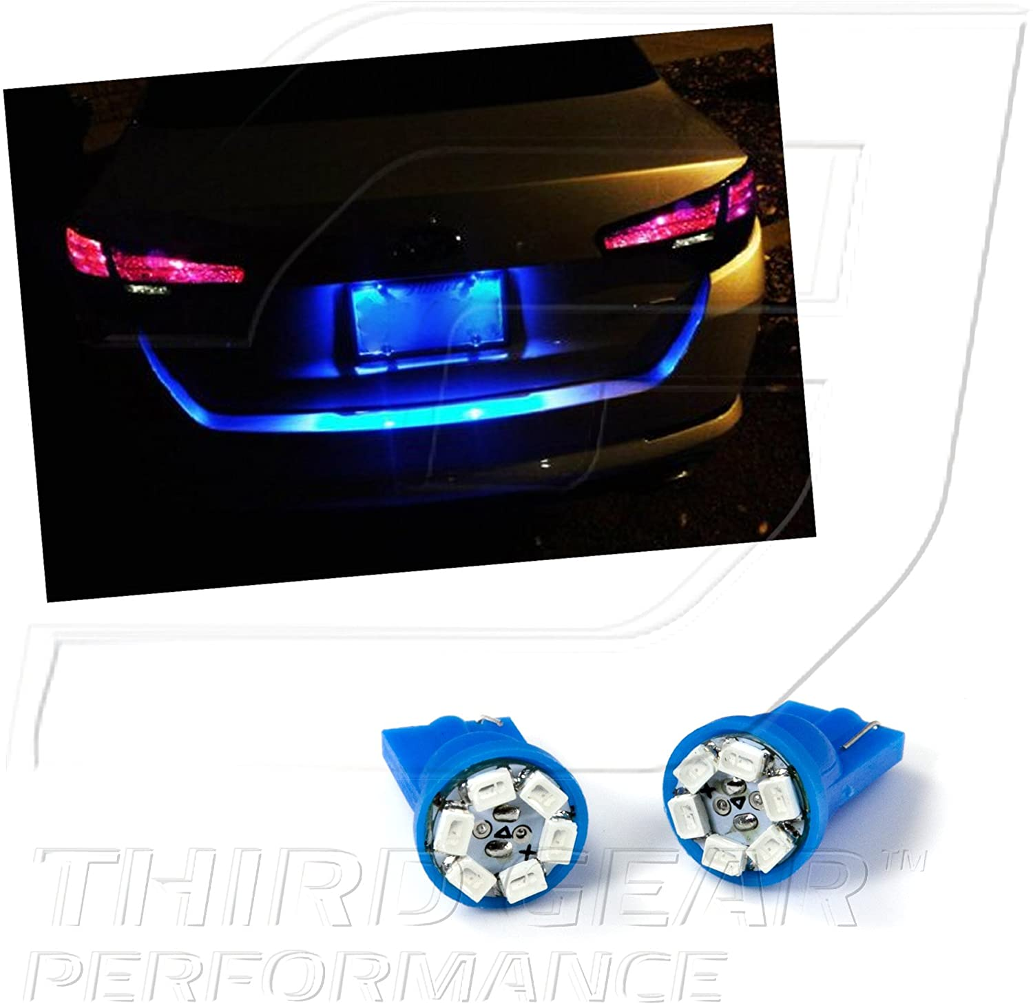 TGP T10 Blue 6 LED SMD License Plate Wedge Light Bulbs Pair 1995-2013 Compatible with Nissan Sentra