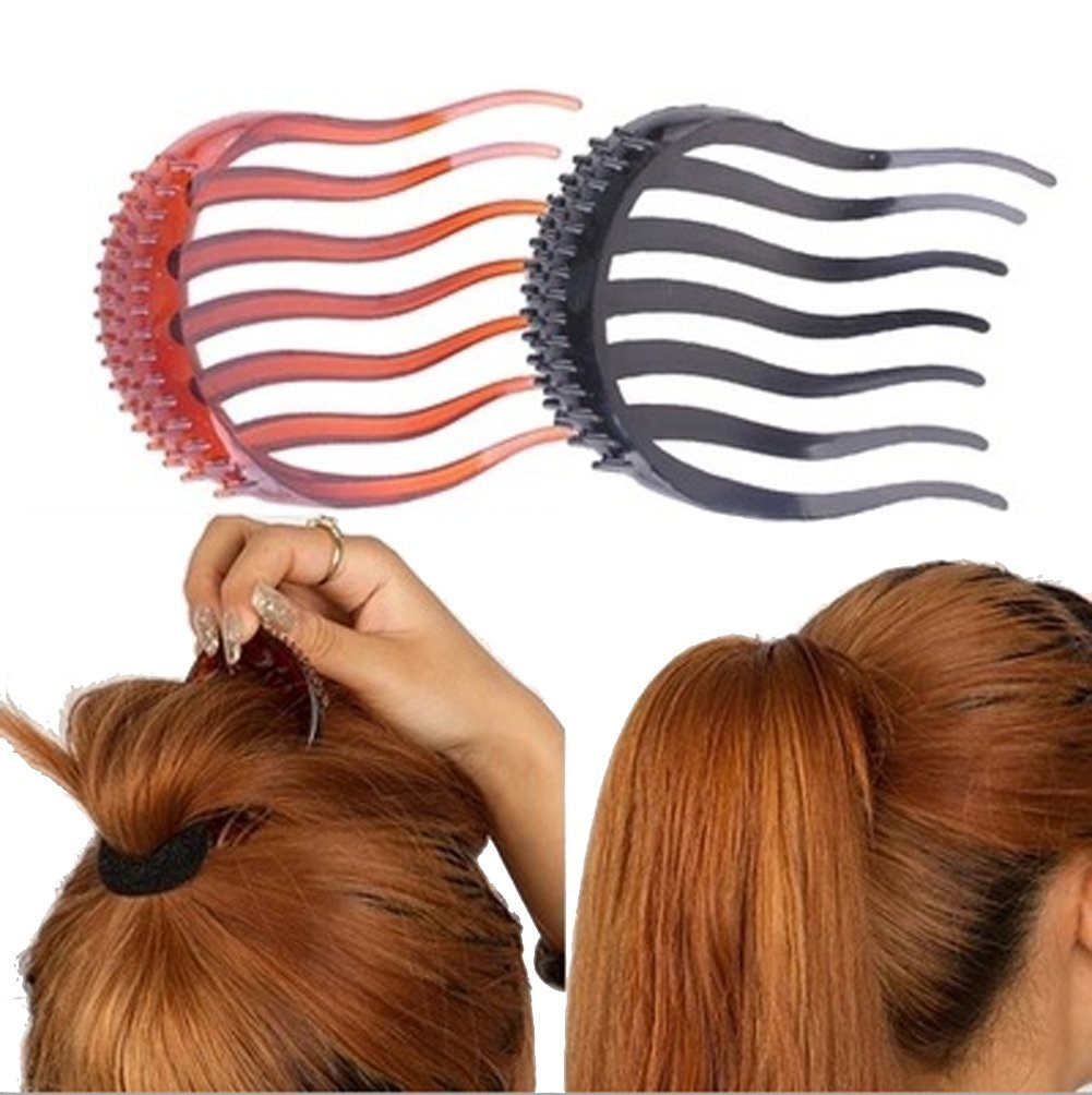 2Pcs Ponytail Bump it UP Hair Styling Insert Comb Fluffy Hair Comb (1Black+1Coffee)