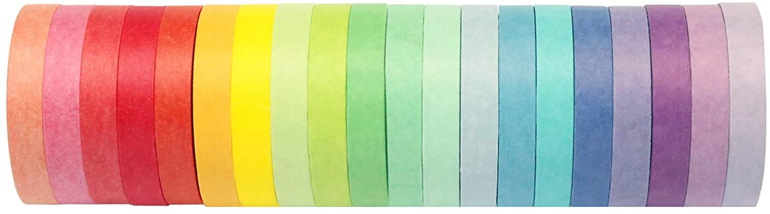 Colored Washi Masking Tape 20 Rolls 7.5mm Wide Colourful Rainbow Decorative Writable Tape – Perfect for Arts & Crafts, Scrapbook, Bullet Journal, Labeling, Color Code, Painters, Kids, Office, DIY