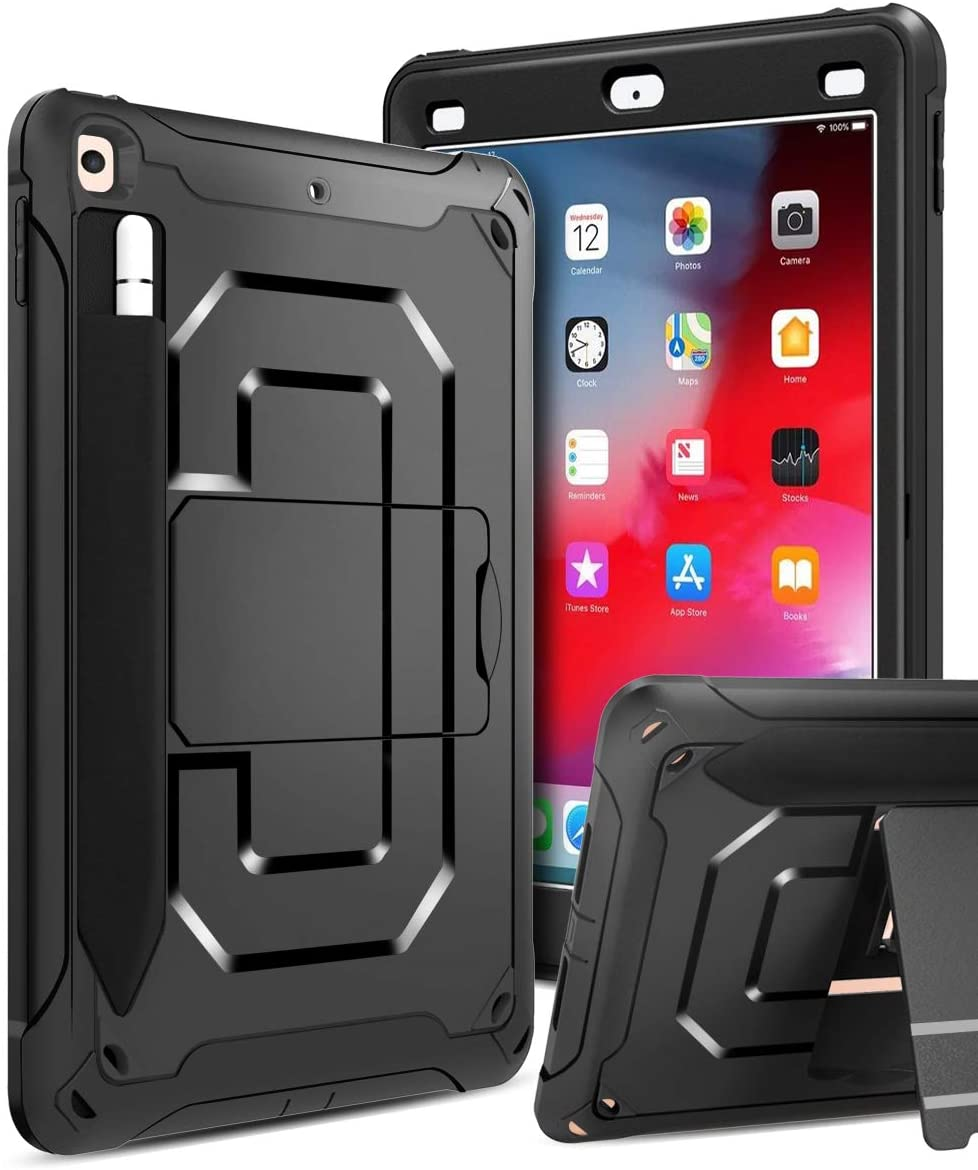 Innens Compatible iPad 9.7 inch 2018/2017 Case, Heavy Duty Armor Defender Anti-Scratch Shockproof Rugged Case with Kickstand and Pencil Holder for iPad 9.7 inch 6th/5th Generation