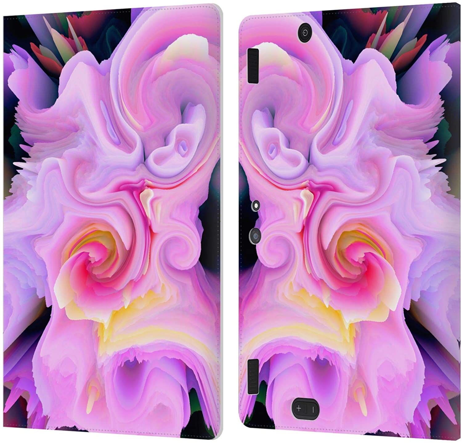 Head Case Designs Officially Licensed Haroulita Romance Floral Glitch 2 Leather Book Wallet Case Cover Compatible with DHgate Kindle Fire HDX 8.9