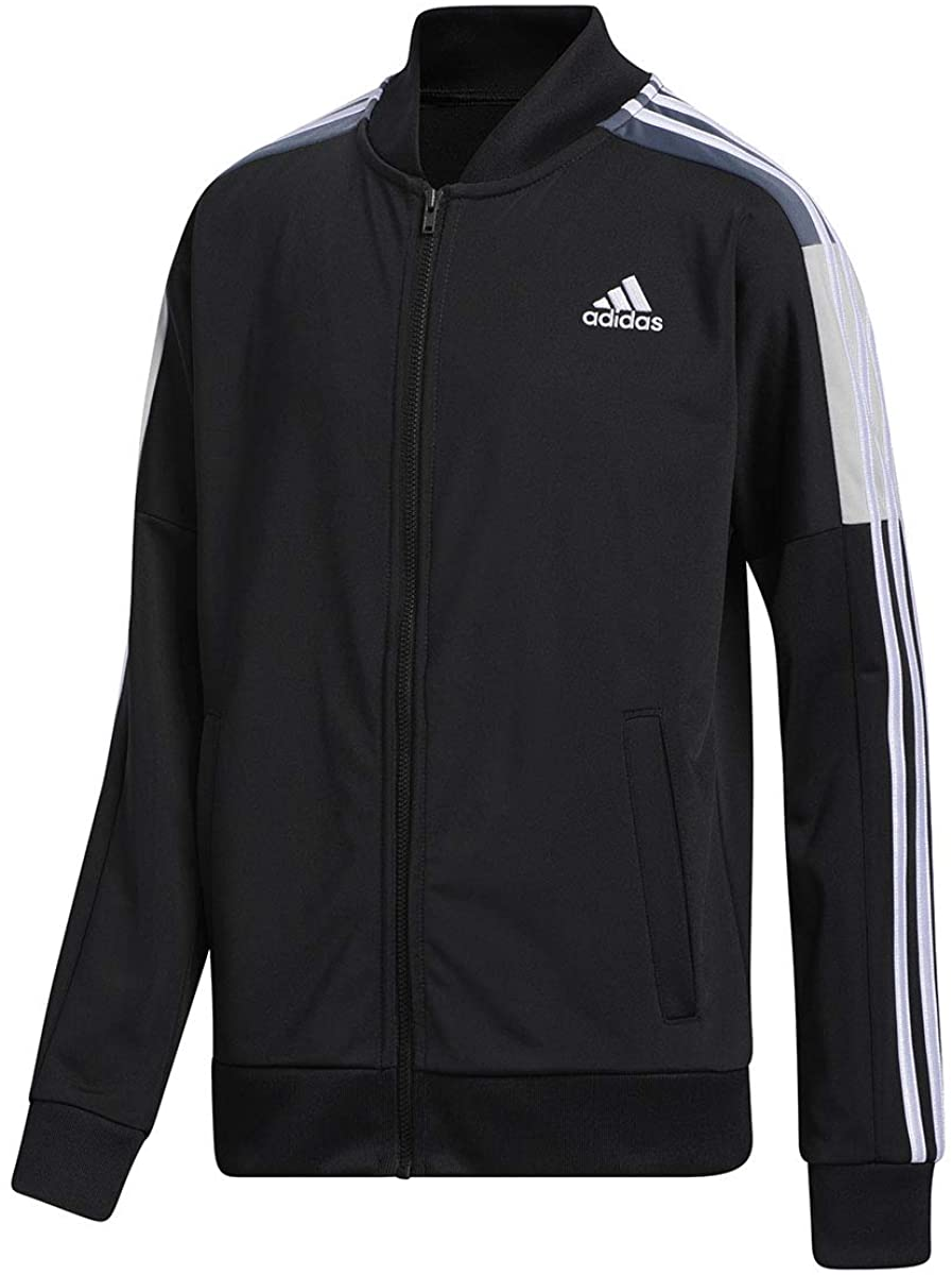 adidas Boy's Tricot Track Jacket, Black, X-Large