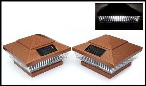 14-Pack Solar HAMMERED BRONZE Finish Post Deck Fence Cap Lights for 4