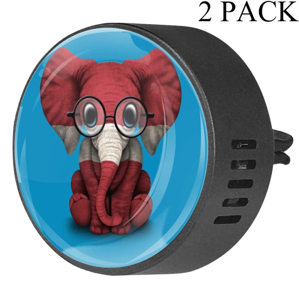 Latvian Flag Baby Elephant Car Diffuser Vent Clip Healthy Certification EVA Car Air Freshener 2 Pack, Frangipani