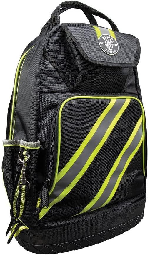 Klein Tools 55597 Tool Bag Backpack, Tradesman Pro Tool Organizer with 39 Pockets, Reflective Hi Viz, Padded Shoulder Straps, Molded Base