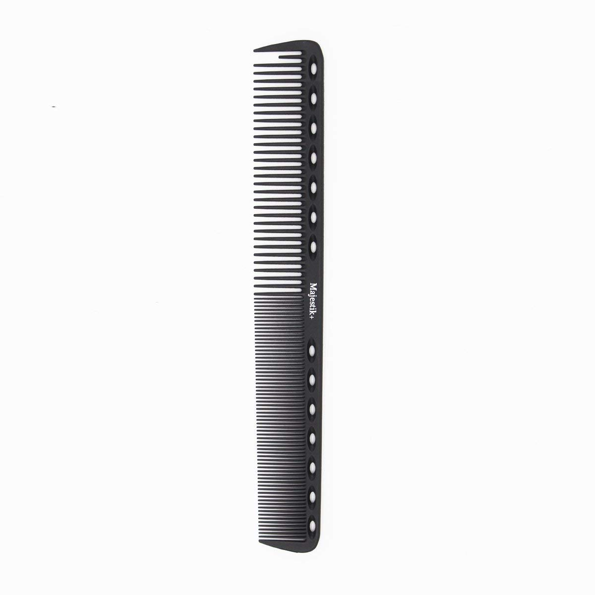 HairDressing Comb- a Professional Carbon Fibre Measuring Hair Cutting Comb by Majestik+, Anti-Static, Strength & Durability, Black, With Free Bespoke PVC Product Pouch