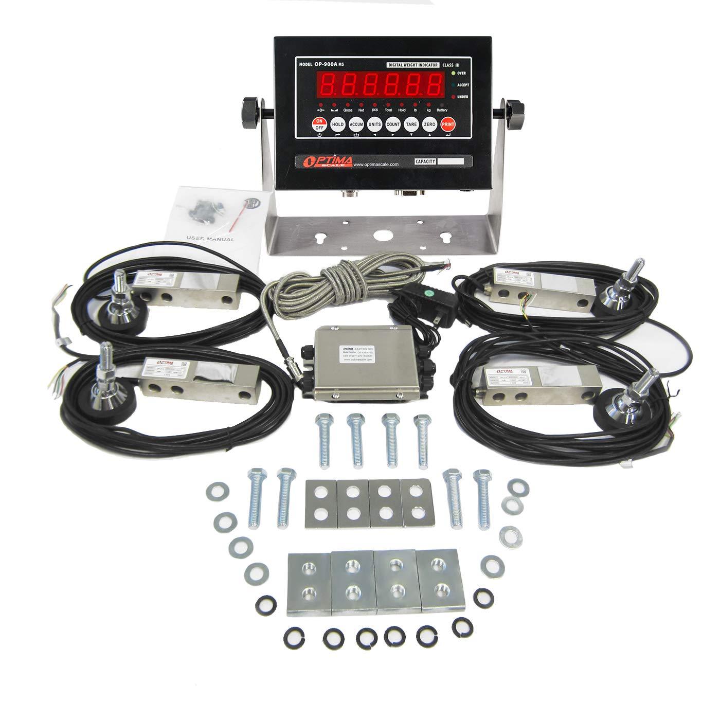 Optima Scale OP-720-5K Build It Yourself 5,000 LBS Floor Scale Package (Everything You Need For A Floor Scale Except The Platform)
