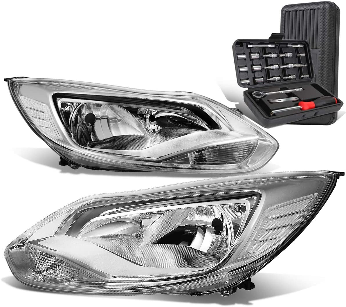 Chrome Housing Clear Corner Headlight Head Lamps+Tool Kit Replacement for Ford Focus 12-14