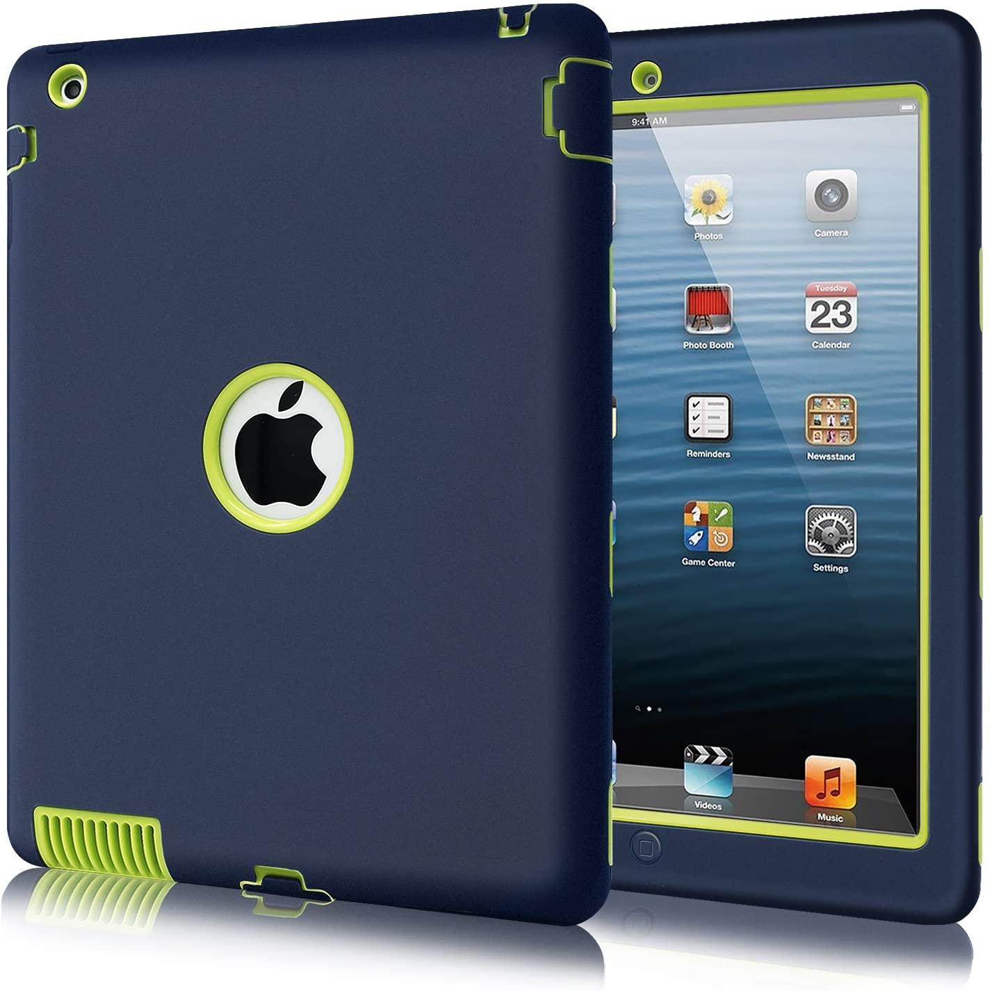 iPad 2 Case, iPad 3 Case,Fingic iPad 4 Case Full Body 3 Layer Heavy Duty Shock-Absorption High Impact Resistant Hybrid Rugged Protective Case for Apple iPad 2/3/4 Retina,Navy Blue&Green