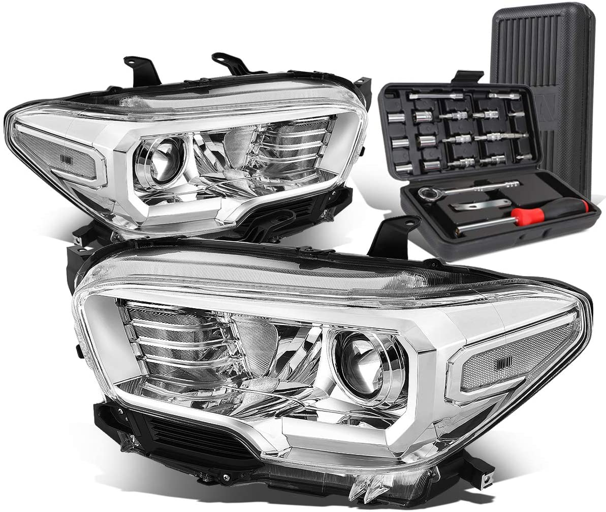 Chrome Housing Clear Corner Projector Headlight Head Lamps+Tool Kit Replacement for Tacoma 16-20
