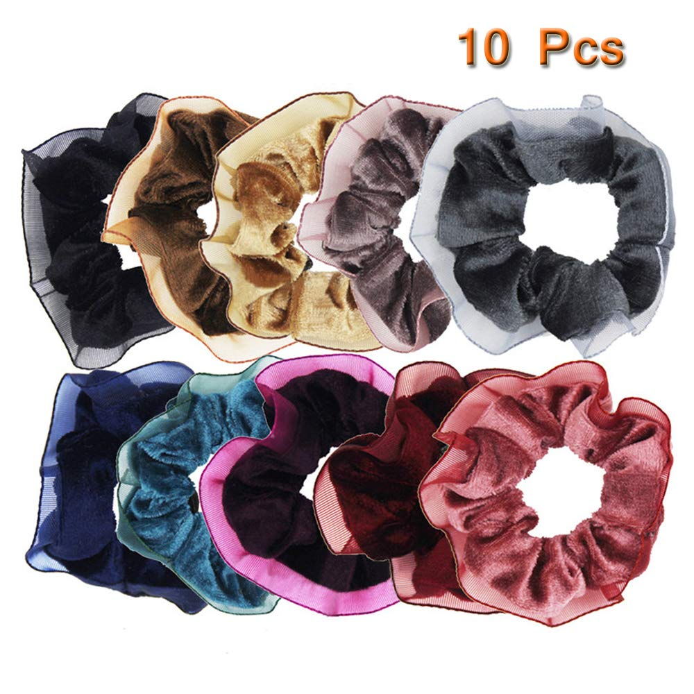 10 Pcs Soft Velvet Hair Scrunchie Colorful Elastic Spring Hair Bands Ponytail Holder W/Lace Trim Hair Accessories for Women or Girls