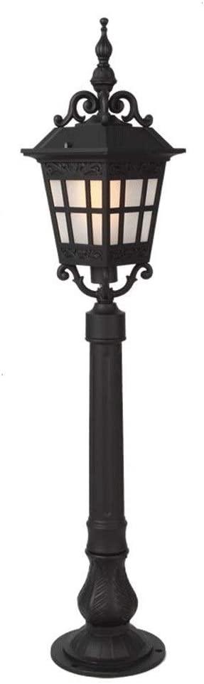WHYA European Black Metal Glass Lantern Outdoor Street Light Garden Lawn Light Retro Victoria Aluminum Pillar Bollard Waterproof Post Light Villa Patio Park Landscape Decor Floor Lamp E27