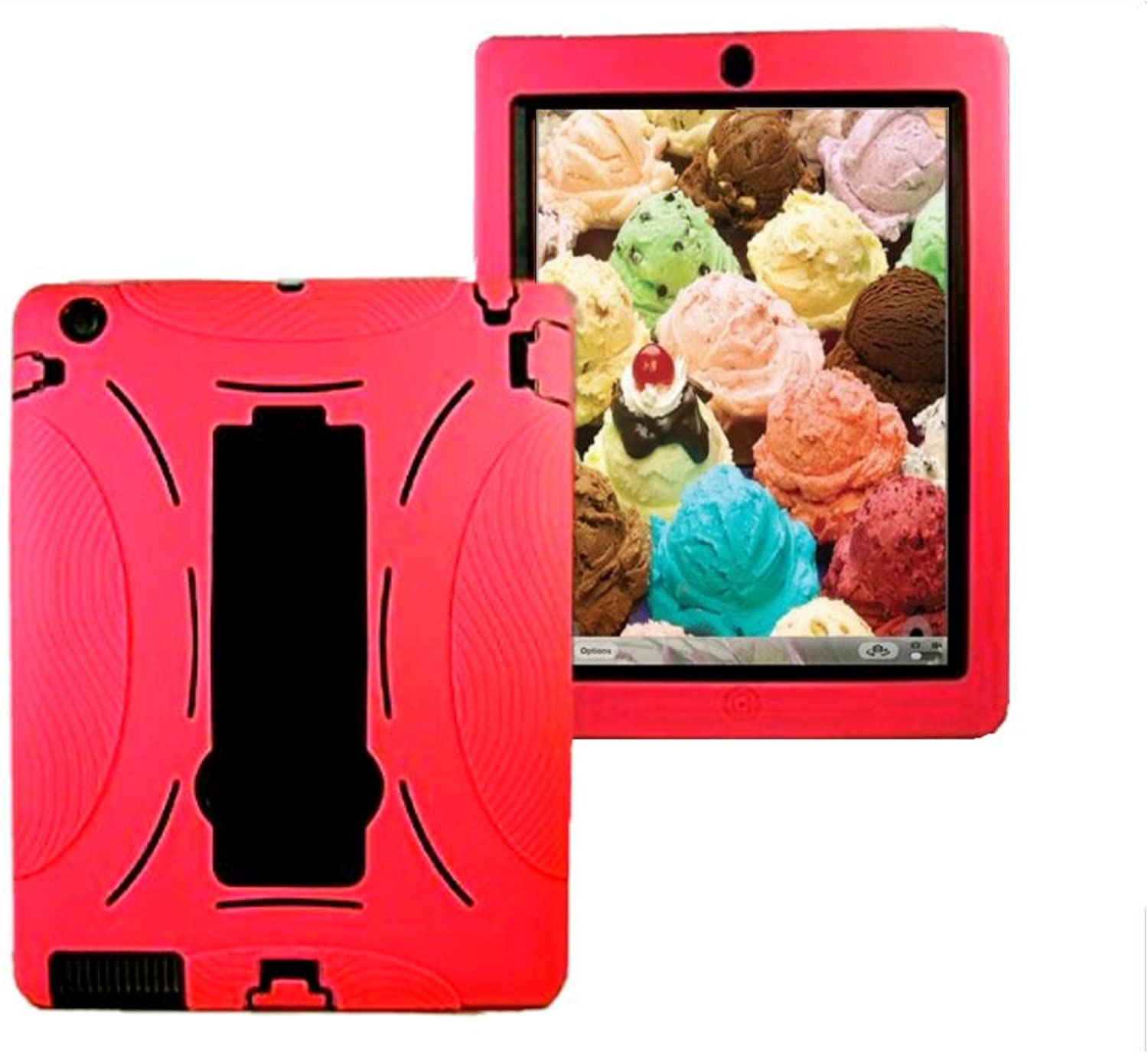 Ipad 2nd, 3rd, 4th Generation case Shell Rugged Shockproof Silicone Protective 3 in 1 Case Cover for ipad 2/3/4 Model : A1397, A1416, A1395, A1396, A1403, A1458, A1460, A1430 (Red Black)