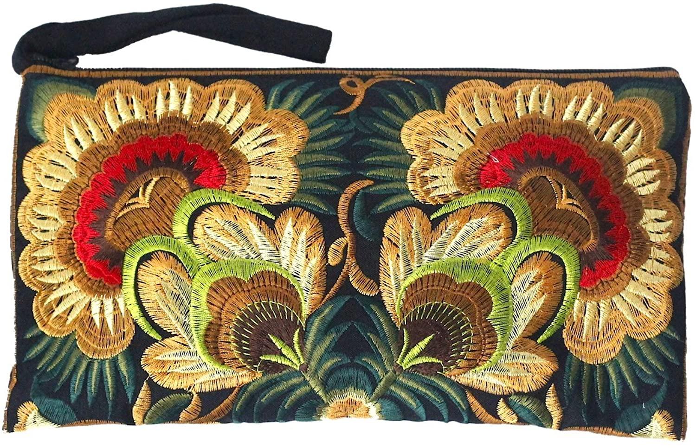 Sabai Jai - Floral Embroidered Boho Clutch - Handmade Ethnic Flower Wristlet Purse
