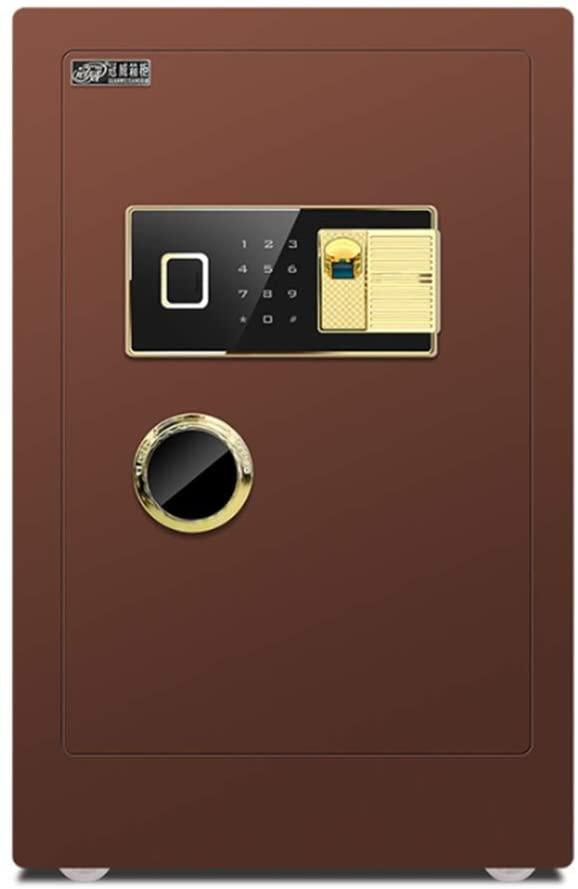 LIFEIYAN Safe, Home Office 60/70cm Fingerprint Password Smart Anti-theft Reset Safes Deposit Box - Brown smart home safe (Color : Fingerprint+password, Size : 703942cm)