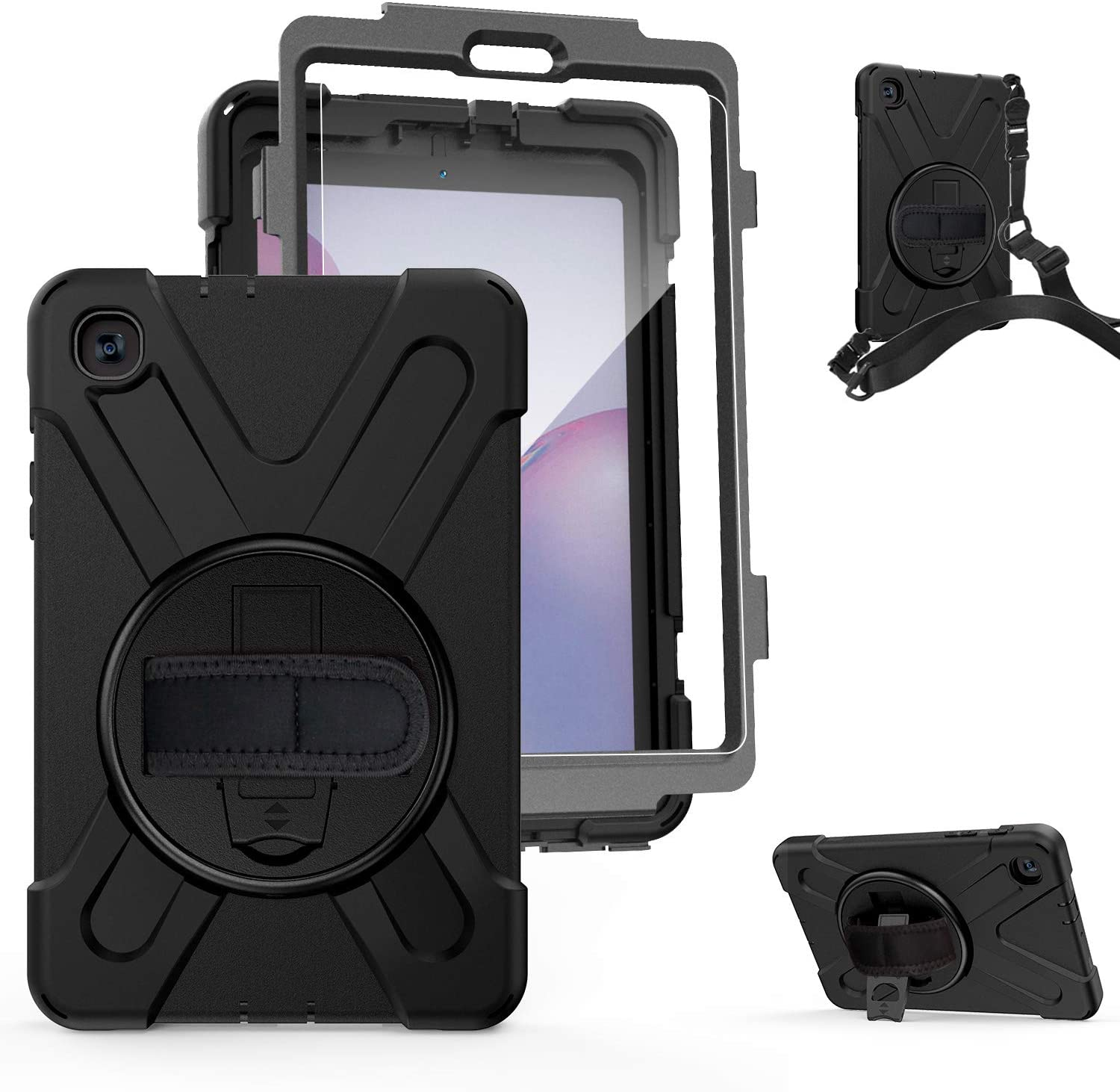 Samsung Galaxy Tab A 8.4 Case 2020 SM-T307 [Built-in Screen Protector] | TSQ Heavy Duty Three Layer Hybrid Protective Case w/ 360° Rotatable Stand Hand Shoulder Strap for Galaxy Tab A 8.4 Inch, Black