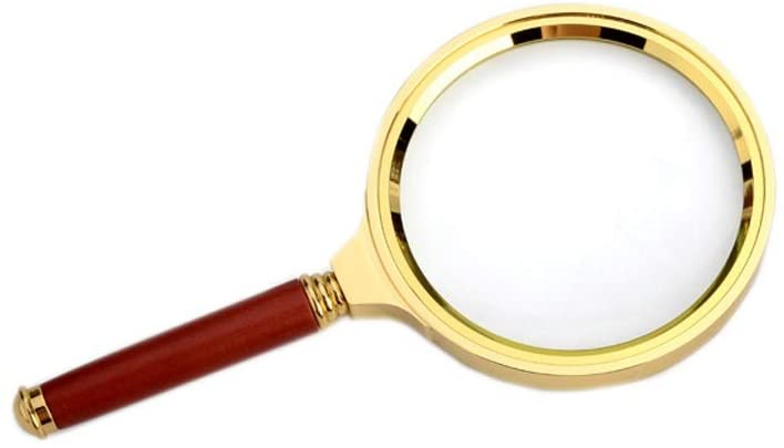 Metal Wooden Handle 20X HD Magnifying Glass Portable Magnifying Glass Handheld Magnifying Glass for Reading Magnifier (Size : Large)