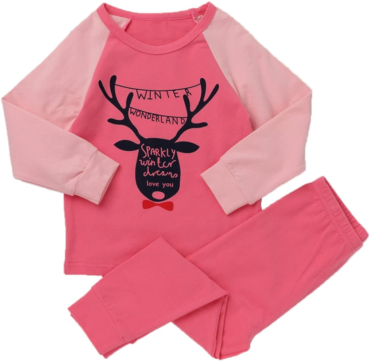 LieLiestar Little Boys Cute Antlers Print Long Sleeve Shirt & Pants Pajamas Set