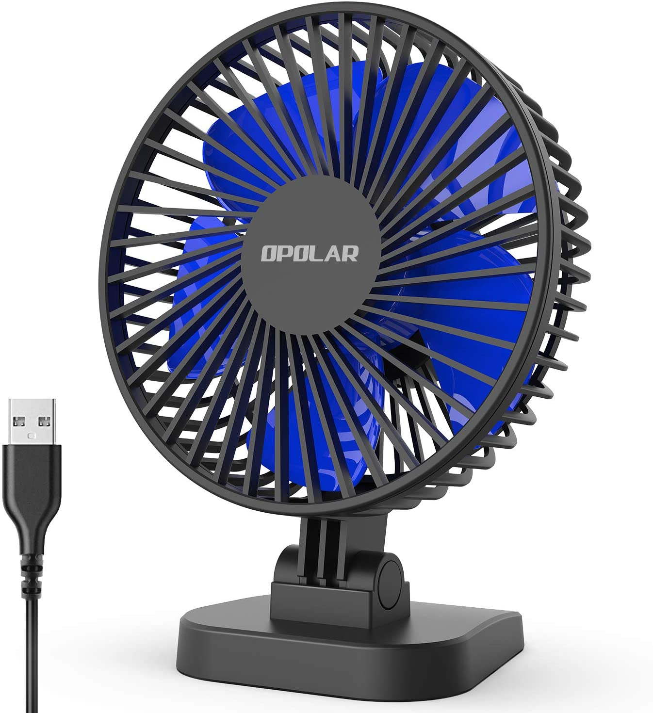 OPOLAR USB Desk Fan, Small but Mighty, Quiet Portable Fan for Desktop Office Table, 40° Adjustment for Better Cooling, 3 Speeds, 4.9 ft Cord