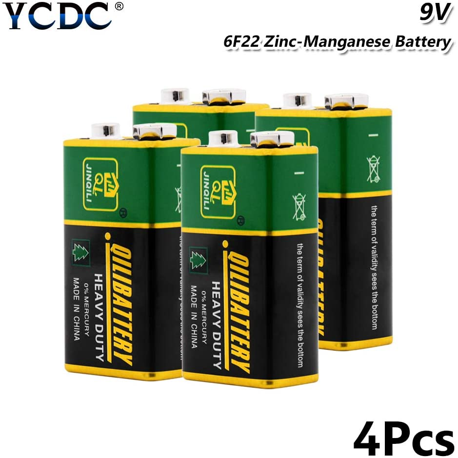 YCDC Heavy Duty 9V 6F22 Dry Zn/MnO2 Battery for RC Toy Smoke Alarm Microphone 4Pcs, 9 Volt Battery for Smoke Detectors, Alarms, Car Toys, Multi-Meter, Instruments,Gamepads,Medical Devices,etc