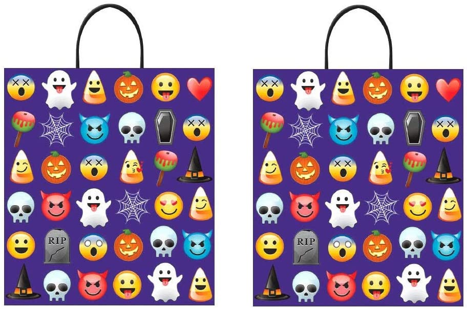 16 x 14 Premium Halloween Trick or Treat Emoji Loot Bag (Pack of 2) Include Icons Ghost, Pumpkin, Skull, Spider, RIP, Witch Hat