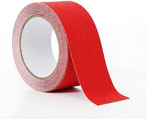 Xennos Tape - 5cmx5m PVC Scrub Anti-slip Adhesive Tape Stair Step Safety Wear-resistant Self-adhesive Safety Handle Tape Warning Tape - (Width: 50mm, Color: red, Length: 5M)